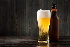 Стекло пива и пивной бутылки Стоковое Изображение RF