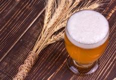 Стекло пива и ушей пшеницы стоковое изображение rf