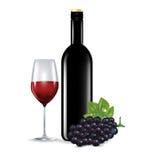 Стекло при красное изолированные вино, виноградина и бутылка Иллюстрация штока