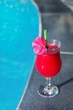Стекло свежего питья сока smoothie арбуза на границе Стоковое Фото