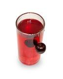 Стекло сока вишни при изолированная смертная казнь через повешение вишни Стоковая Фотография RF