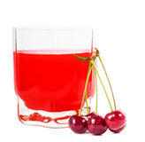 Стекло сока и вишен вишни Стоковое Изображение