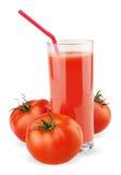 Стекло сока томата изолированное на белизне Стоковая Фотография