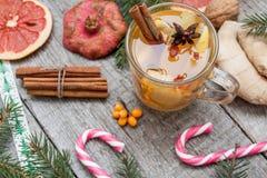 стекло состава рождества bauble голубое Елевые ветви, тросточка конфеты, грея чай с имбирем и лимон Стоковые Изображения RF