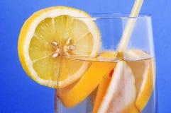 Стекло с виноградинами вытрезвителя питья сухими, груша, лимон на голубом backgroun Стоковое Изображение