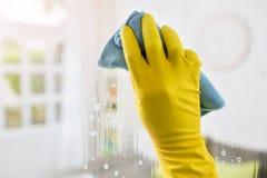 Стекло чистки с тканью и перчатками Стоковая Фотография RF