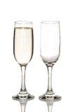 Стекло шампанского и пустого стекла шампанского Стоковая Фотография RF