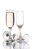 Стекло шампанского и пустого стекла шампанского Стоковое Изображение