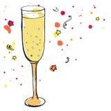 Стекло шампанского на украшениях партии Иллюстрация вектора