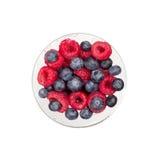 Стекло ягод изолированных на белом положении квартиры взгляд сверху предпосылки Стоковые Фотографии RF