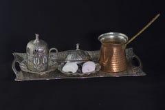 стекло espresso кофе cezve холодное как, котор служят малая турецкая вода Стоковые Фото