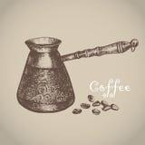 стекло espresso кофе cezve холодное как, котор служят малая турецкая вода также вектор иллюстрации притяжки corel Стоковое фото RF