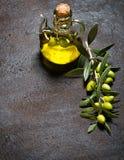 Стеклянная бутылка виргинских оливкового масла и ветви с оливками Стоковое фото RF