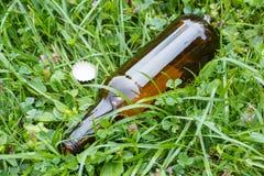 Стеклянная бутылка и крышка бутылки на траве в парке, засаривать окружающей среды Стоковая Фотография