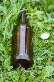 Стеклянная бутылка и крышка бутылки на траве в парке, засаривать окружающей среды Стоковое фото RF