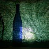 Стеклянная бутылка и стеклянный шарик стоковые фото