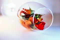 Стеклянная ваза заполненная с лепестками красной розы aromatherapy принципиальная схема Стоковые Изображения
