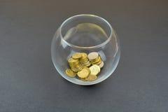 Стеклянная ваза с русскими монетками Стоковые Изображения
