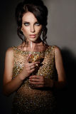 стеклянная женщина вина стоковые изображения