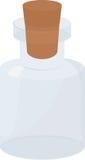 Стеклянная малая пустая бутылка с деревянной пробочкой Иллюстрация штока