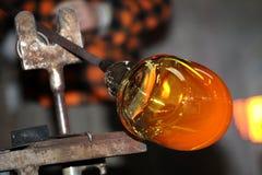 Стеклянная фабрика, glassworks, стеклянная воздуходувка Стоковое Изображение RF