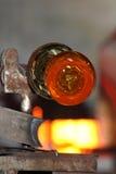 Стеклянная фабрика, glassworks, стеклянная воздуходувка Стоковые Фото