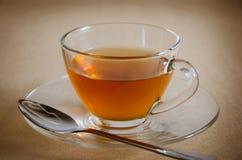 Стеклянная чашка горячего чая для перерыва на чай Стоковые Фото