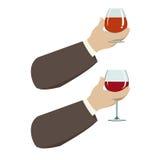 стеклянное вино руки иллюстрация вектора