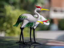 Стеклянное искусство - птицы крана Стоковое Изображение