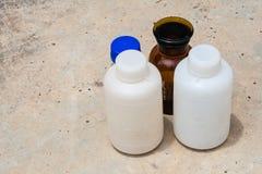 Стеклянные бутылки для проверки окружающей среды Стоковая Фотография RF