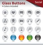Стеклянные кнопки - социальные средства массовой информации Стоковая Фотография
