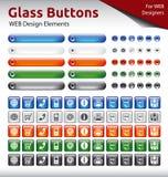 Стеклянные кнопки - элементы веб-дизайна Стоковые Изображения