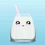 Стеклянные эмоции молока Стоковая Фотография