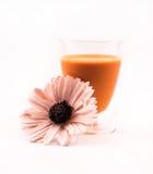 Стеклянный вполне апельсина покрасил коктеиль и цветок на белой предпосылке Стоковое Изображение RF