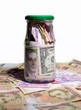 Стеклянный опарник с деньгами Стоковая Фотография