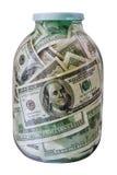 Стеклянный опарник с долларами Стоковые Изображения RF