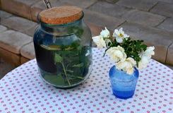Стеклянный опарник с соленьем и цветками в вазе Стоковое фото RF