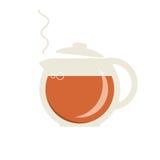 Стеклянный чайник с горячим значком чая Стоковая Фотография RF