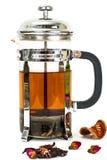 Стеклянный чайник с прессой чая Стоковые Фото