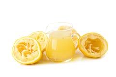 стеклянный шар свеже сжиманных лимонного сока, squeezer лимона и r Стоковое Фото
