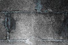 Стена блока Серая черная предпосылка стены блока цемента Стоковая Фотография