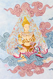 стена виска типа картины искусства тайская традиционная Стоковая Фотография