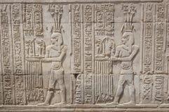 стена виска carvings египетская иероглифическая стоковое изображение rf