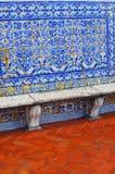 Стена выровняна с крыть черепицей черепицей azulejo на террасе Monas стоковые фотографии rf