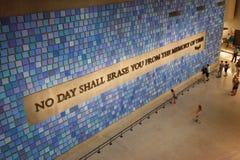 Стена в национальном музее 11-ое сентября мемориальном, NYC Стоковая Фотография RF