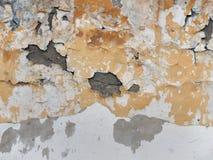 Стена гипсолита шелушения: желтые и белые пятна крошить поверхности стены, вод-выдержанных, старых и обрюзглых, на нижнем открыто Стоковое Изображение RF