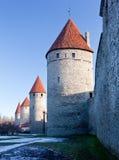 стена городка 4 башен tallinn Стоковое Фото