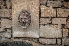 Стена гранита с рыльцем льва Стоковые Изображения