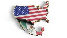 Стена границы между Мексикой и США иллюстрация штока