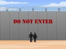 Стена границы между Соединенными Штатами и Мексикой с не входит в подписывает внутри английскую иллюстрацию вектора стоковая фотография rf